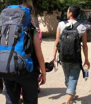 backpackers traveling